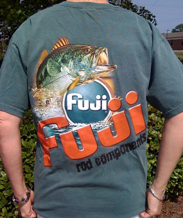 Shirt back design in Spruce: A fish jumping over the Fuji logo and the text 'fuji rod components'