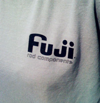 'fuji rod components' breast imprint on the front of a shirt
